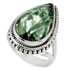 925 silver 15.33cts natural green seraphinite solitaire ring size 7 r28332