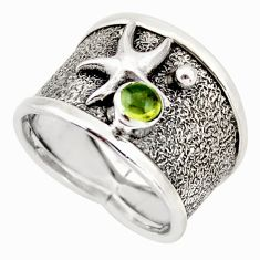 925 silver 0.85cts natural green tourmaline gold star fish ring size 8 d46324