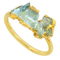4.97cts natural green tourmaline raw 14k gold handmade ring size 8 r70726