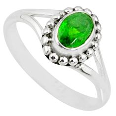 silver 1.56cts natural green tourmaline solitaire handmade ring size 9 r82164