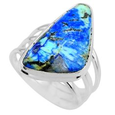 925 silver 16.65cts natural green turquoise azurite solitaire ring size 9 r72333