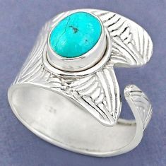 925 silver 4.22cts natural green turquoise tibetan adjustable ring size 8 r63348