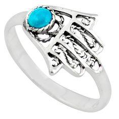 925 silver natural green turquoise tibetan hand of god hamsa ring size 9 c10737