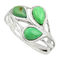 925 silver 2.98cts natural green turquoise tibetan pear ring size 6.5 r25871