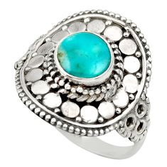Clearance Sale- 925 silver 2.34cts natural green turquoise tibetan solitaire ring size 8 d36131