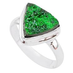 925 silver 6.98cts natural green uvarovite garnet solitaire ring size 9.5 t2004
