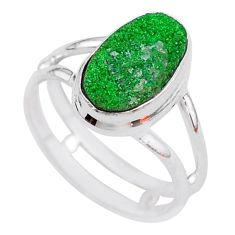 925 silver 4.82cts natural green uvarovite garnet solitaire ring size 7.5 t2013