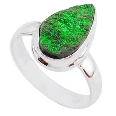 925 silver 5.09cts natural green uvarovite garnet solitaire ring size 7.5 t2018