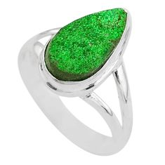 925 silver 5.63cts natural green uvarovite garnet solitaire ring size 8.5 t2024