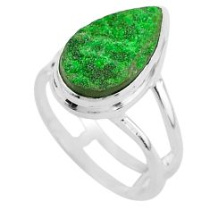 925 silver 5.87cts natural green uvarovite garnet solitaire ring size 8.5 t2037