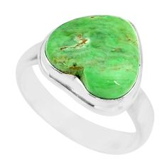 925 silver 11.23cts natural green variscite heart solitaire ring size 8.5 r83632