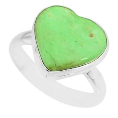 925 silver 8.84cts natural green variscite heart solitaire ring size 8.5 r84635