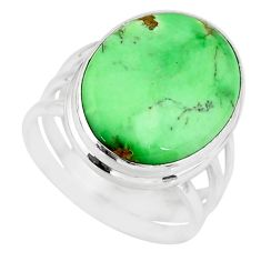 925 silver 13.77cts natural green variscite oval solitaire ring size 7.5 r83624