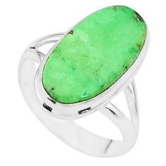 925 silver 8.42cts natural green variscite oval solitaire ring size 8.5 t11178
