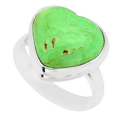 925 silver 7.60cts natural green variscite solitaire ring jewelry size 6 r84684