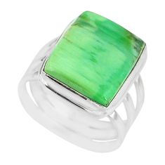 925 silver 11.27cts natural green variscite solitaire ring size 7.5 r83640