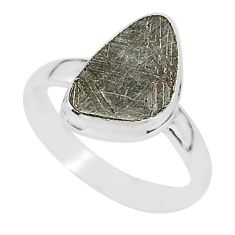 925 silver 4.84cts natural grey meteorite gibeon solitaire ring size 8.5 r95409