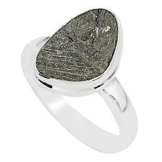 925 silver 4.88cts natural grey meteorite gibeon solitaire ring size 7.5 r95415