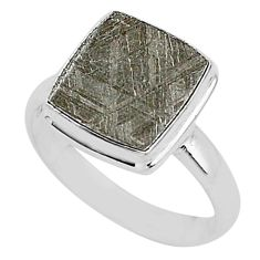 925 silver 5.06cts natural grey meteorite gibeon solitaire ring size 8.5 r95424