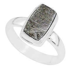 925 silver 4.91cts natural grey meteorite gibeon solitaire ring size 6 r95384