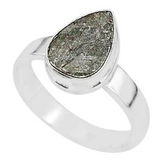 925 silver 3.94cts natural grey meteorite gibeon solitaire ring size 6 r95392
