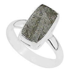 925 silver 4.22cts natural grey meteorite gibeon solitaire ring size 7 r95396