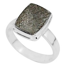 925 silver 4.88cts natural grey meteorite gibeon solitaire ring size 7 r95398
