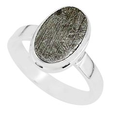 925 silver 5.27cts natural grey meteorite gibeon solitaire ring size 7 r95418