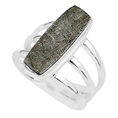 925 silver 6.16cts natural grey meteorite gibeon solitaire ring size 7 r95429
