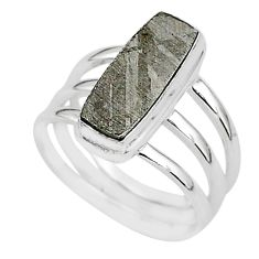 925 silver 6.42cts natural grey meteorite gibeon solitaire ring size 8 r95439