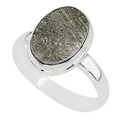 925 silver 6.57cts natural grey meteorite gibeon solitaire ring size 9 r95435