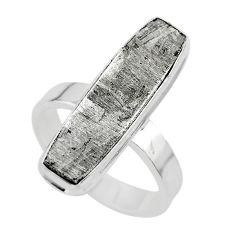 925 silver 16.17cts natural grey meteorite gibeon solitaire ring size 7.5 t29160