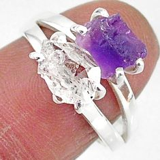 925 silver 6.90cts natural herkimer diamond amethyst raw ring size 7 t6777