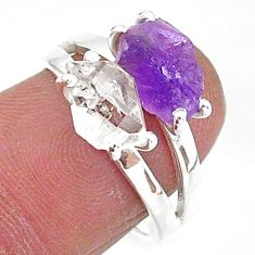 925 silver 6.50cts natural herkimer diamond amethyst raw ring size 7 t6800