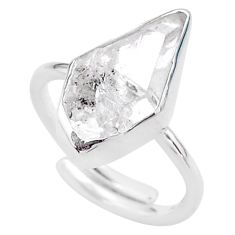 925 silver 7.33cts natural herkimer diamond fancy adjustable ring size 8 t49014
