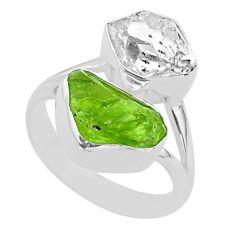 925 silver 10.74cts natural herkimer diamond peridot raw ring size 7 t49730