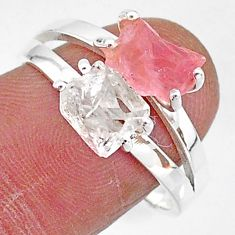 925 silver 7.62cts natural herkimer diamond rose quartz raw ring size 9 t6770