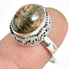 925 silver 5.53cts natural honduran matrix opal solitaire ring size 8.5 r76078