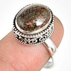 925 silver 5.33cts natural honduran matrix opal solitaire ring size 7.5 r76095