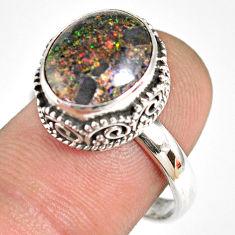 925 silver 5.52cts natural honduran matrix opal solitaire ring size 8.5 r76098