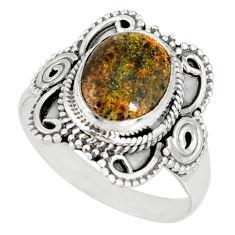 925 silver 4.30cts natural honduran matrix opal solitaire ring size 8.5 r77694