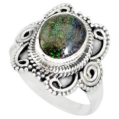 925 silver 4.07cts natural honduran matrix opal solitaire ring size 8.5 r77725