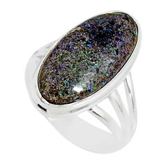 925 silver 8.75cts natural honduran matrix opal solitaire ring size 7.5 r80328