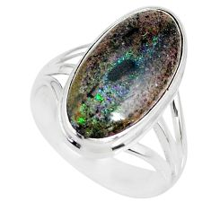 925 silver 9.05cts natural honduran matrix opal solitaire ring size 8.5 r80336
