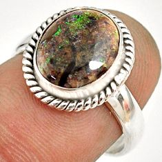 925 silver 5.03cts natural honduran matrix opal solitaire ring size 7 r76024