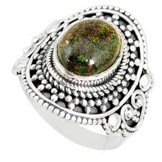 925 silver 4.55cts natural honduran matrix opal solitaire ring size 7 r77719