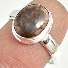 925 silver 4.99cts natural honduran matrix opal solitaire ring size 8 r76040