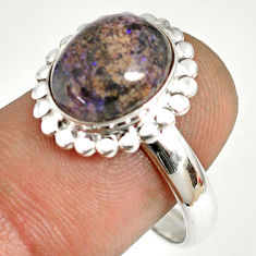 925 silver 5.36cts natural honduran matrix opal solitaire ring size 9 r76010