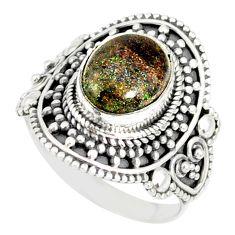 925 silver 4.52cts natural honduran matrix opal solitaire ring size 9 r77738