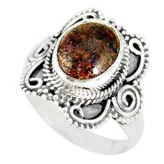 925 silver 4.27cts natural honduran matrix opal solitaire ring size 9 r77740